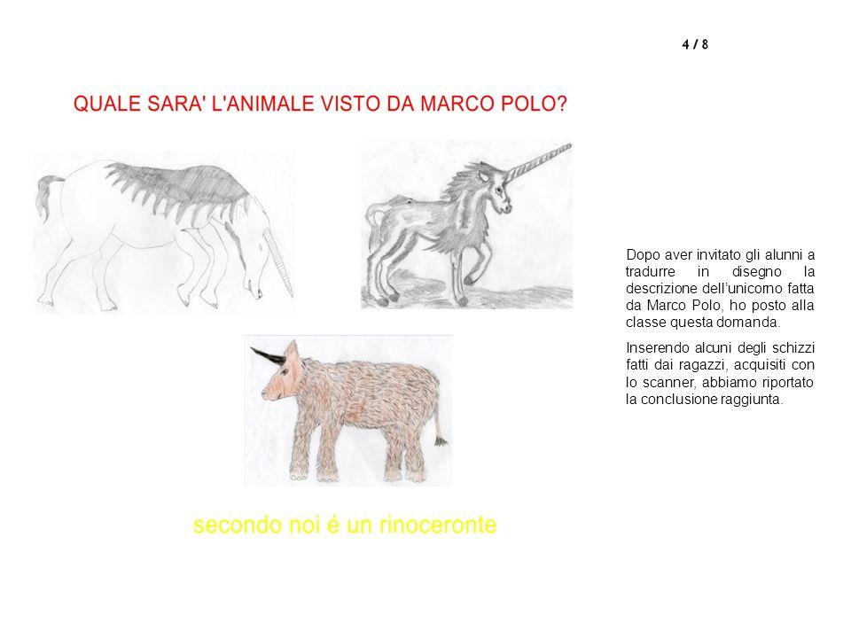 Dopo aver invitato gli alunni a tradurre in disegno la descrizione dellunicorno fatta da Marco Polo, ho posto alla classe questa domanda.