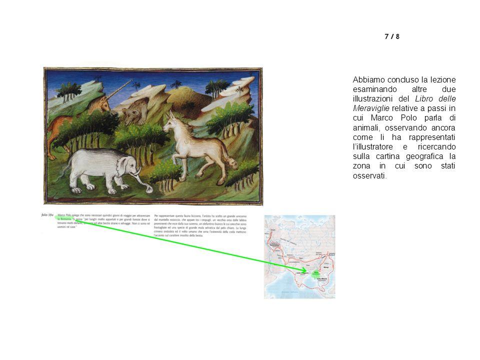 Abbiamo concluso la lezione esaminando altre due illustrazioni del Libro delle Meraviglie relative a passi in cui Marco Polo parla di animali, osservando ancora come li ha rappresentati lillustratore e ricercando sulla cartina geografica la zona in cui sono stati osservati.
