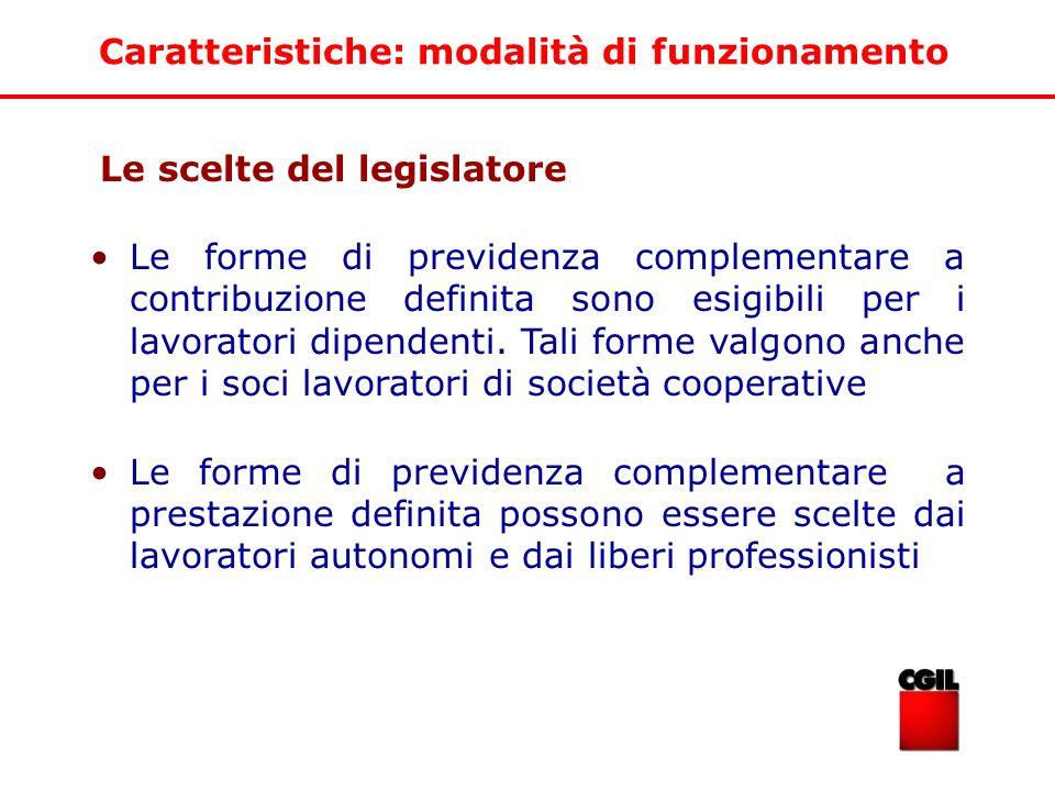 Le scelte del legislatore Le forme di previdenza complementare a contribuzione definita sono esigibili per i lavoratori dipendenti. Tali forme valgono
