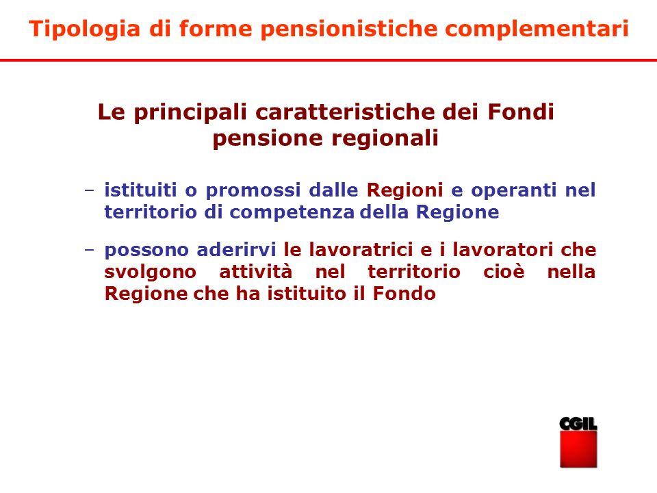 Tipologia di forme pensionistiche complementari –istituiti o promossi dalle Regioni e operanti nel territorio di competenza della Regione –possono ade