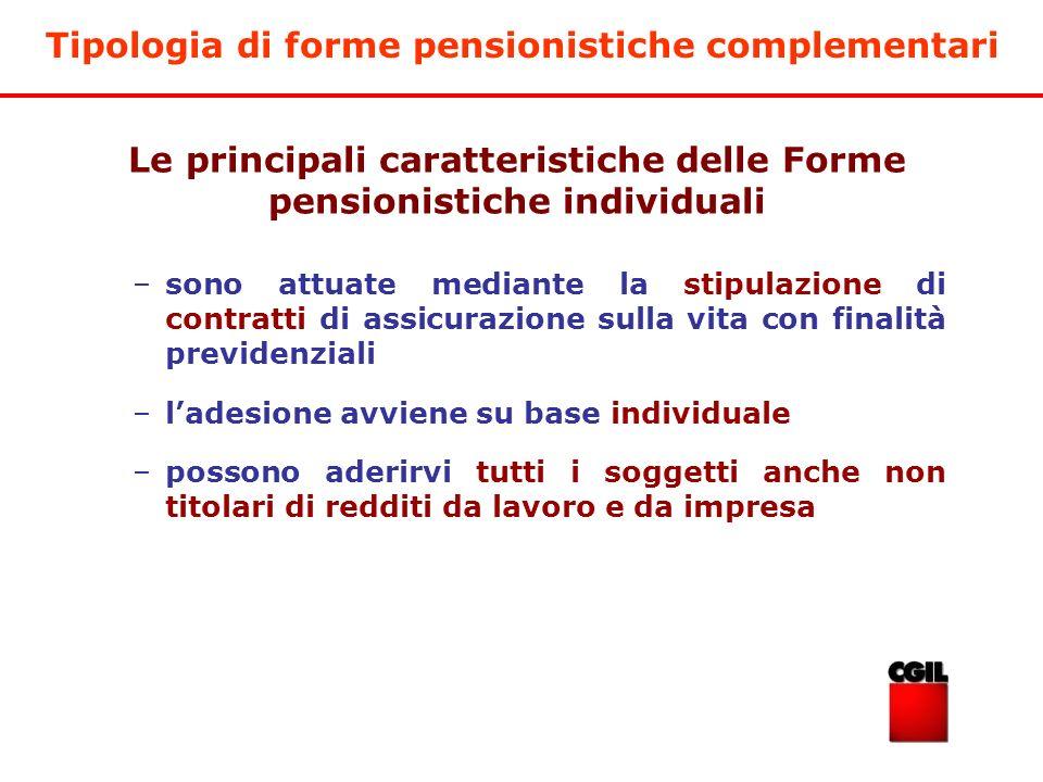 Tipologia di forme pensionistiche complementari –sono attuate mediante la stipulazione di contratti di assicurazione sulla vita con finalità previdenz