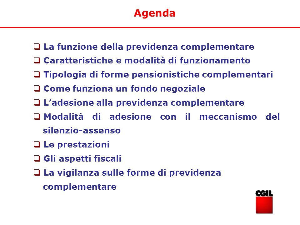 Agenda La funzione della previdenza complementare Caratteristiche e modalità di funzionamento Tipologia di forme pensionistiche complementari Come fun