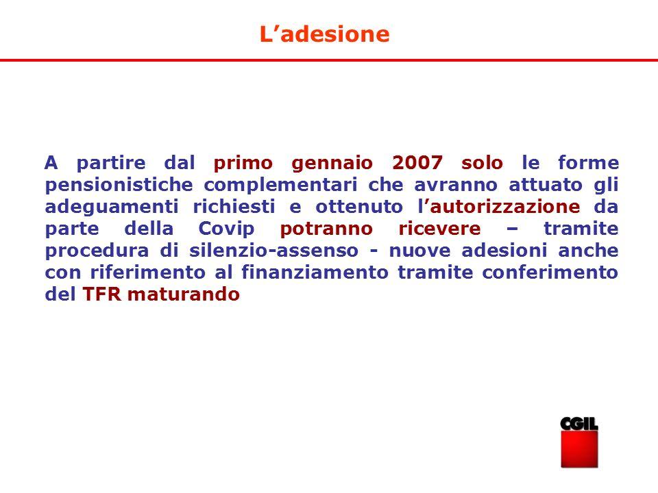 Ladesione A partire dal primo gennaio 2007 solo le forme pensionistiche complementari che avranno attuato gli adeguamenti richiesti e ottenuto lautori