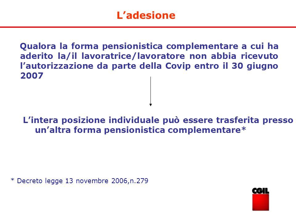 Ladesione Qualora la forma pensionistica complementare a cui ha aderito la/il lavoratrice/lavoratore non abbia ricevuto lautorizzazione da parte della