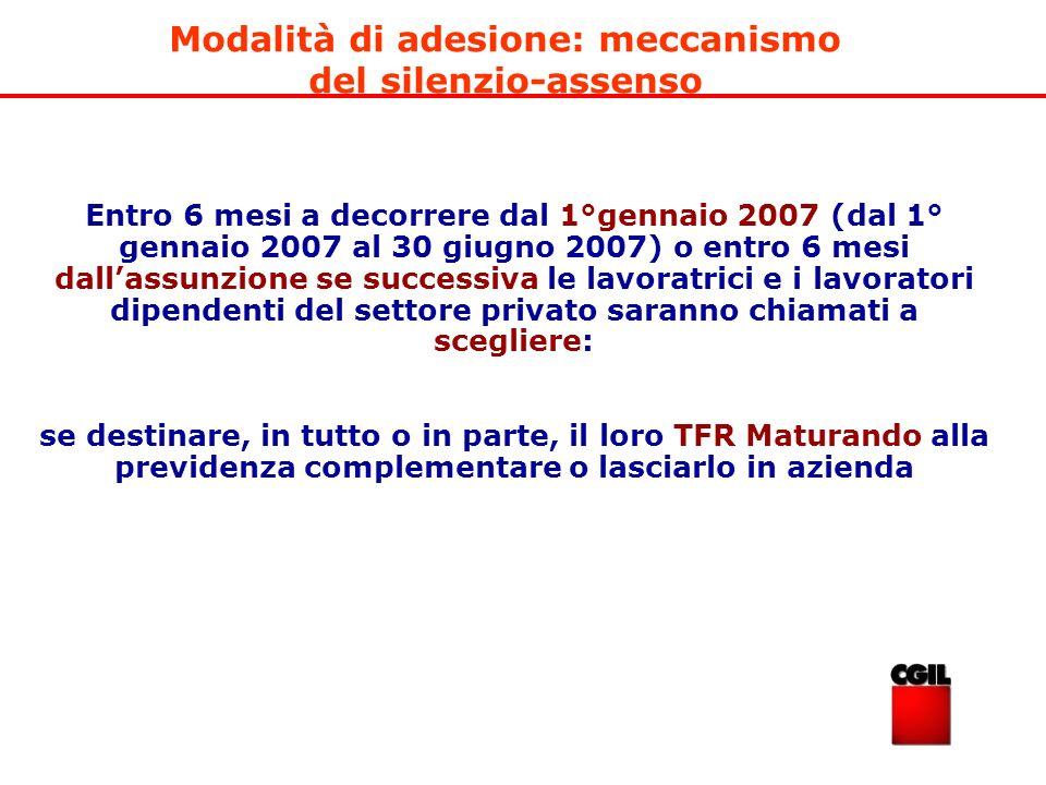 Entro 6 mesi a decorrere dal 1°gennaio 2007 (dal 1° gennaio 2007 al 30 giugno 2007) o entro 6 mesi dallassunzione se successiva le lavoratrici e i lav
