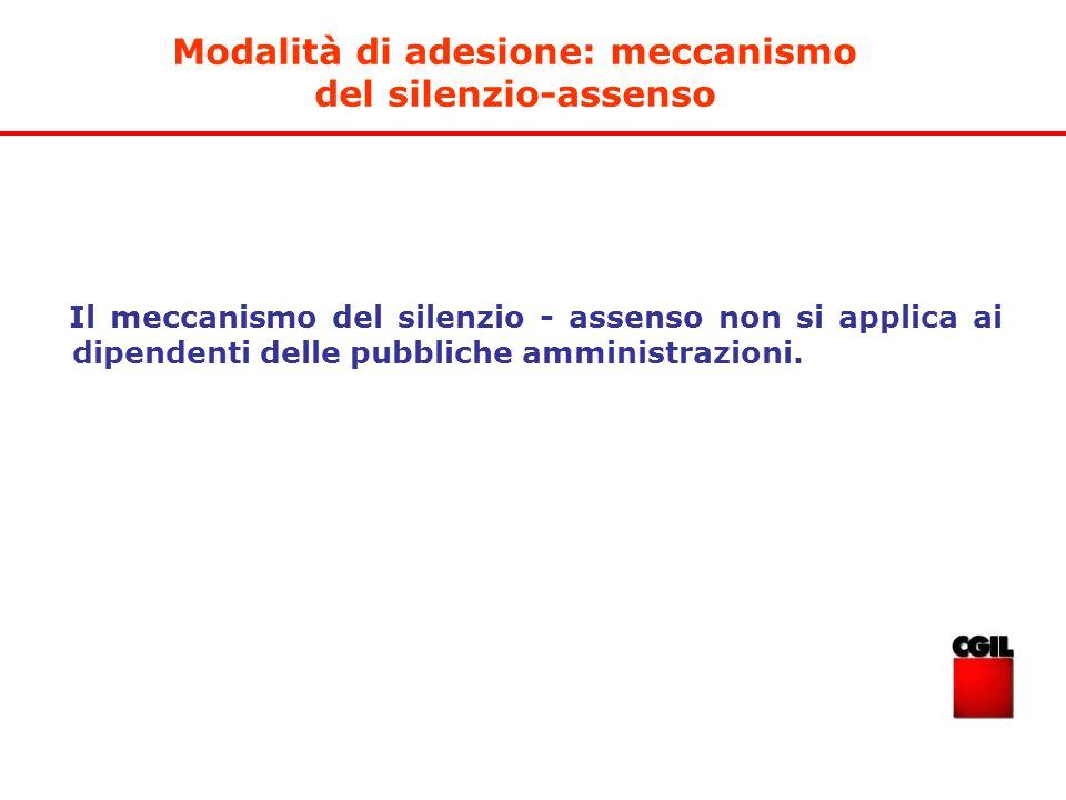 Il meccanismo del silenzio - assenso non si applica ai dipendenti delle pubbliche amministrazioni. Modalità di adesione: meccanismo del silenzio-assen