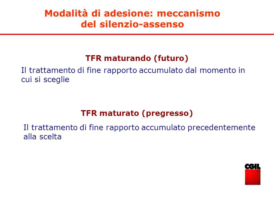 TFR maturando (futuro) TFR maturato (pregresso) Il trattamento di fine rapporto accumulato precedentemente alla scelta Il trattamento di fine rapporto
