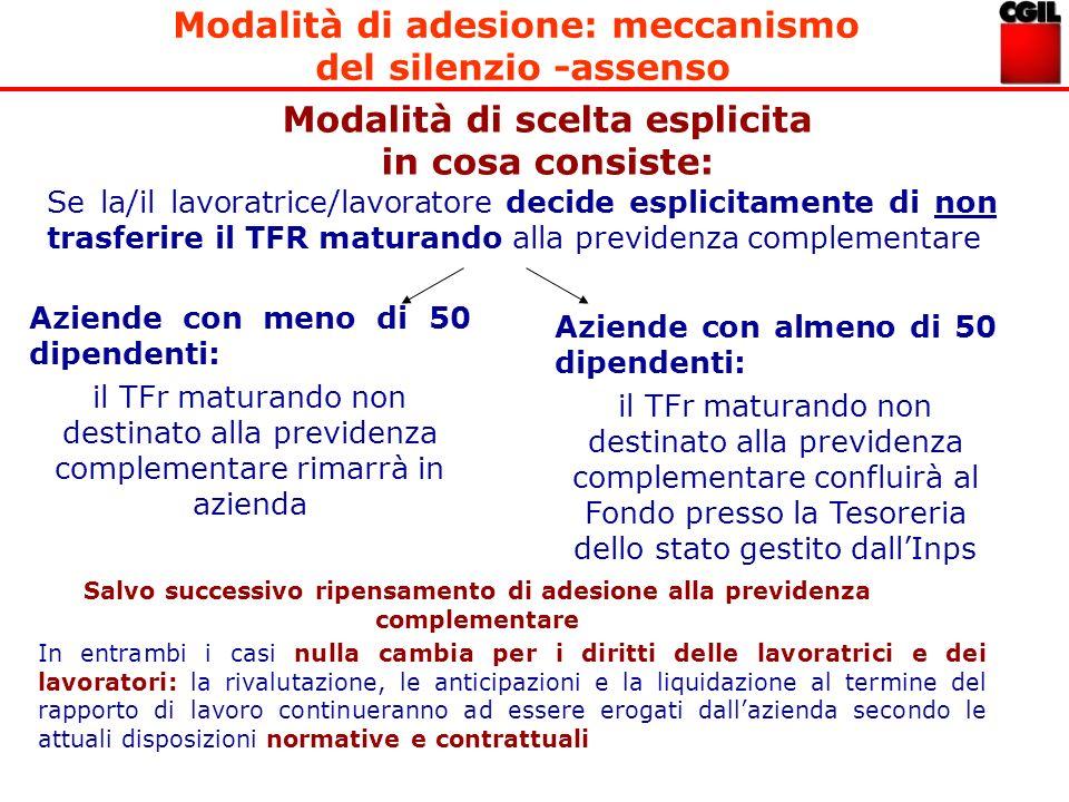 Modalità di adesione: meccanismo del silenzio -assenso Modalità di scelta esplicita in cosa consiste: Se la/il lavoratrice/lavoratore decide esplicita