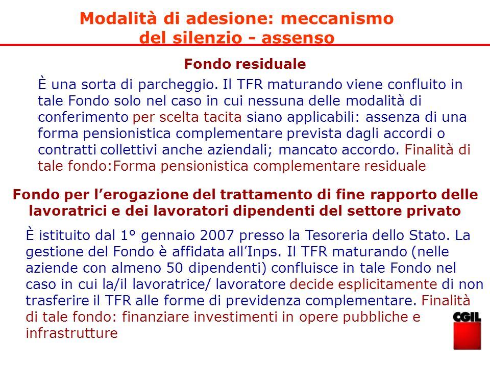 Modalità di adesione: meccanismo del silenzio - assenso Fondo residuale Fondo per lerogazione del trattamento di fine rapporto delle lavoratrici e dei