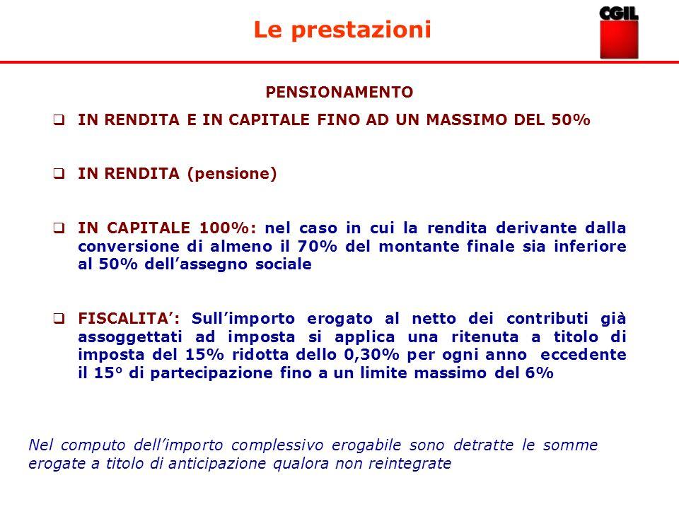 Le prestazioni PENSIONAMENTO IN RENDITA E IN CAPITALE FINO AD UN MASSIMO DEL 50% IN RENDITA (pensione) IN CAPITALE 100%: nel caso in cui la rendita de