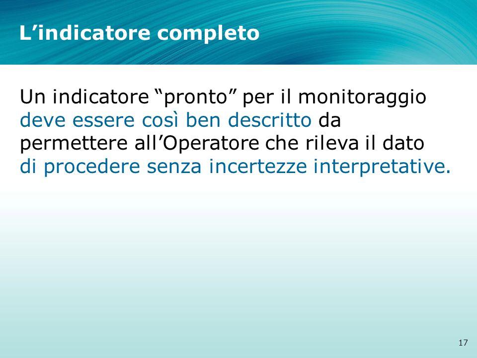 Lindicatore completo 17 Un indicatore pronto per il monitoraggio deve essere così ben descritto da permettere allOperatore che rileva il dato di proce
