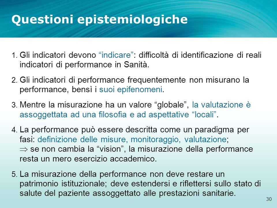 1. Gli indicatori devono indicare: difficoltà di identificazione di reali indicatori di performance in Sanità. 2. Gli indicatori di performance freque