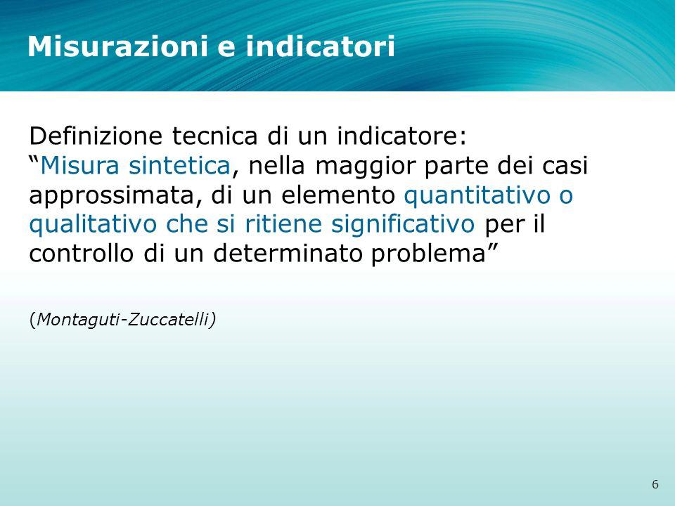 Misurazioni e indicatori Definizione tecnica di un indicatore:Misura sintetica, nella maggior parte dei casi approssimata, di un elemento quantitativo