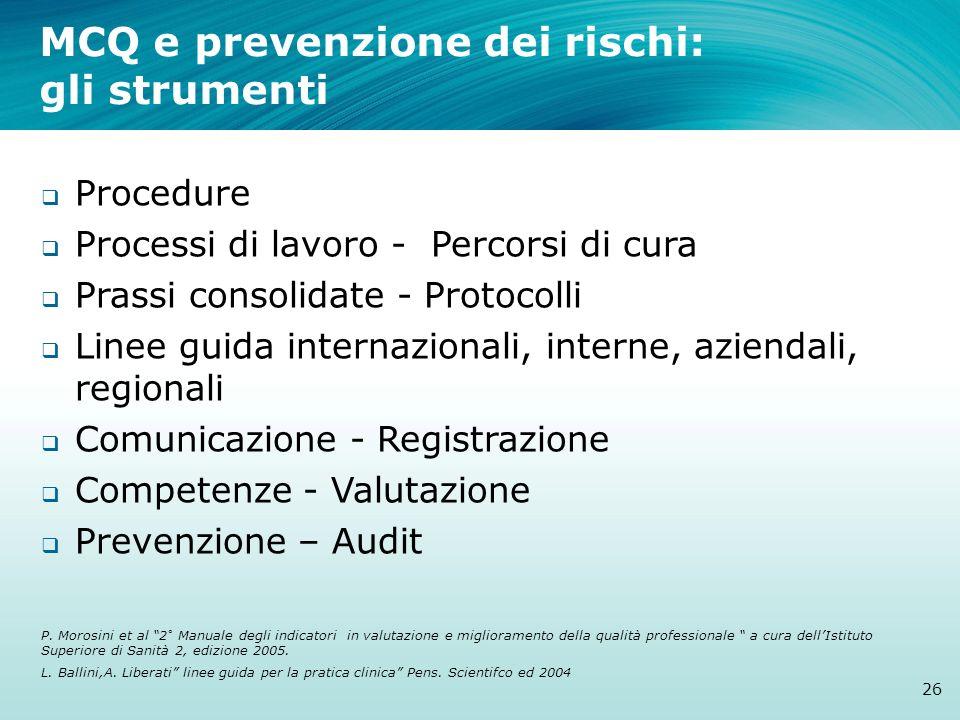 MCQ e prevenzione dei rischi: gli strumenti Procedure Processi di lavoro - Percorsi di cura Prassi consolidate - Protocolli Linee guida internazionali