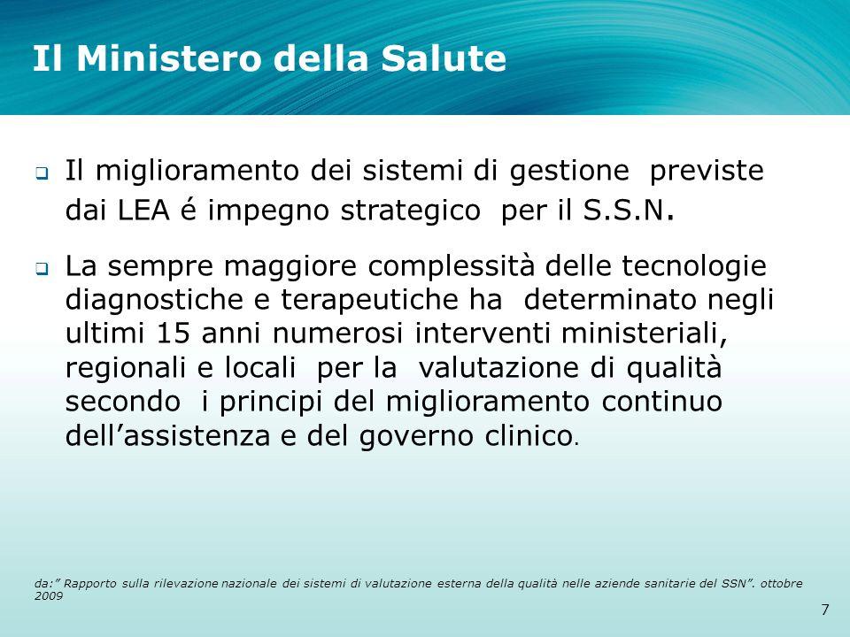Il Ministero della Salute 7 Il miglioramento dei sistemi di gestione previste dai LEA é impegno strategico per il S.S.N. La sempre maggiore complessit