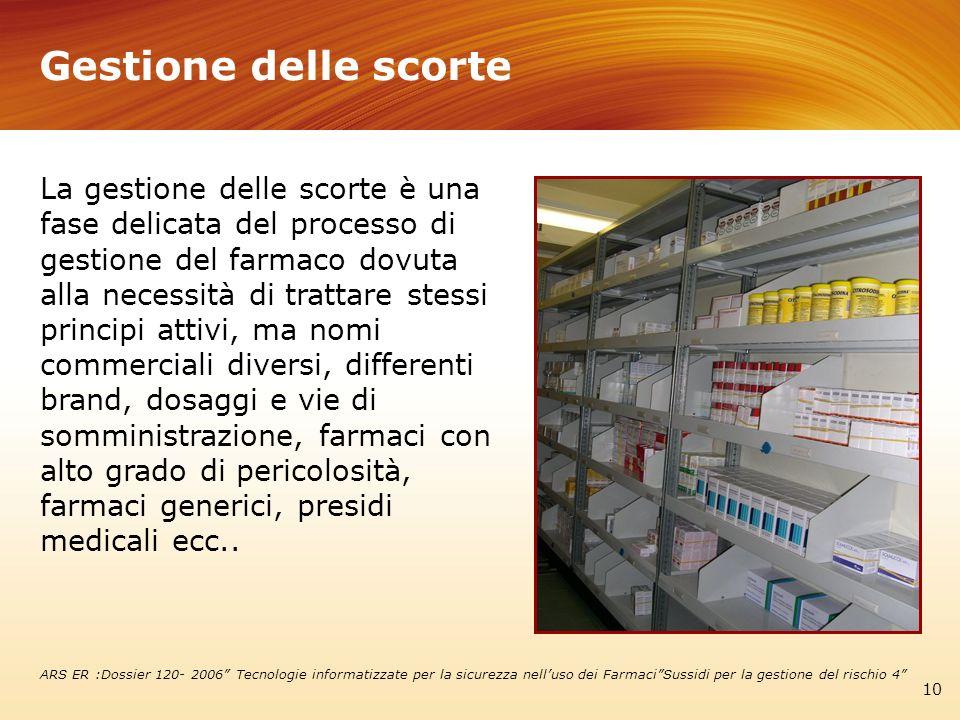 Gestione delle scorte 10 La gestione delle scorte è una fase delicata del processo di gestione del farmaco dovuta alla necessità di trattare stessi pr