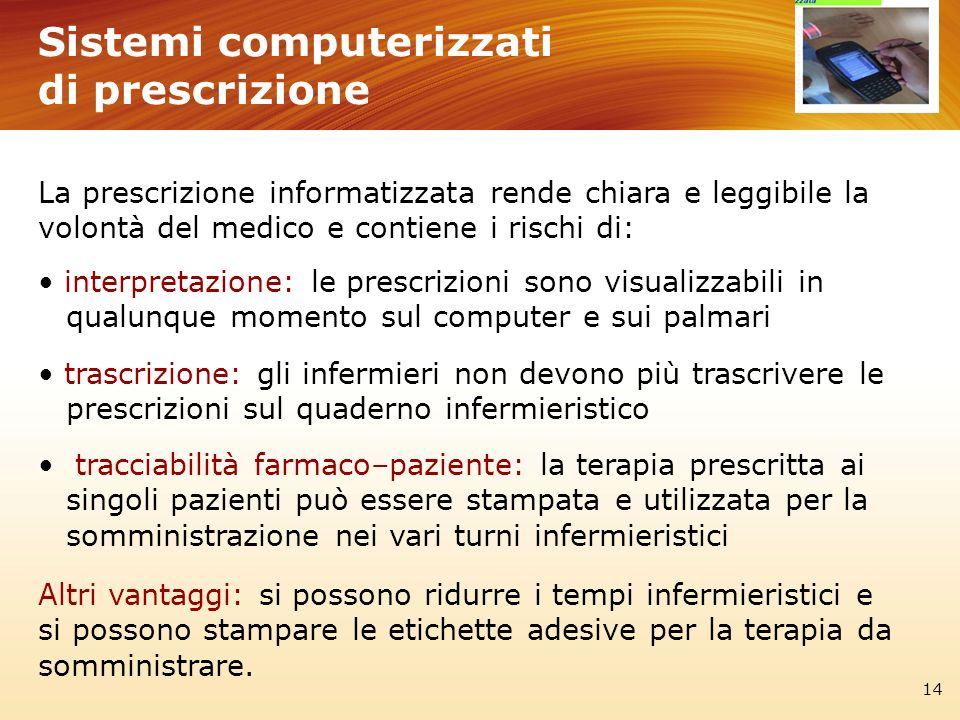 Sistemi computerizzati di prescrizione 14 La prescrizione informatizzata rende chiara e leggibile la volontà del medico e contiene i rischi di: interp