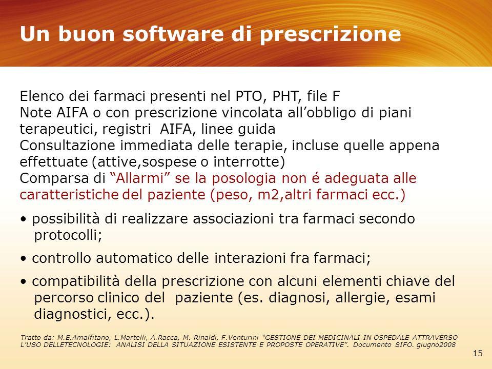 Un buon software di prescrizione 15 Elenco dei farmaci presenti nel PTO, PHT, file F Note AIFA o con prescrizione vincolata allobbligo di piani terape