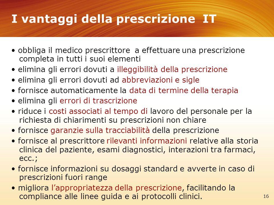I vantaggi della prescrizione IT 16 obbliga il medico prescrittore a effettuare una prescrizione completa in tutti i suoi elementi elimina gli errori