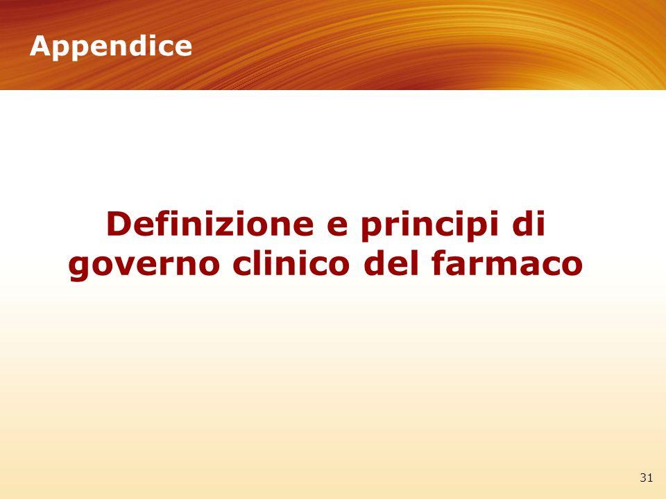 Appendice 31 Definizione e principi di governo clinico del farmaco