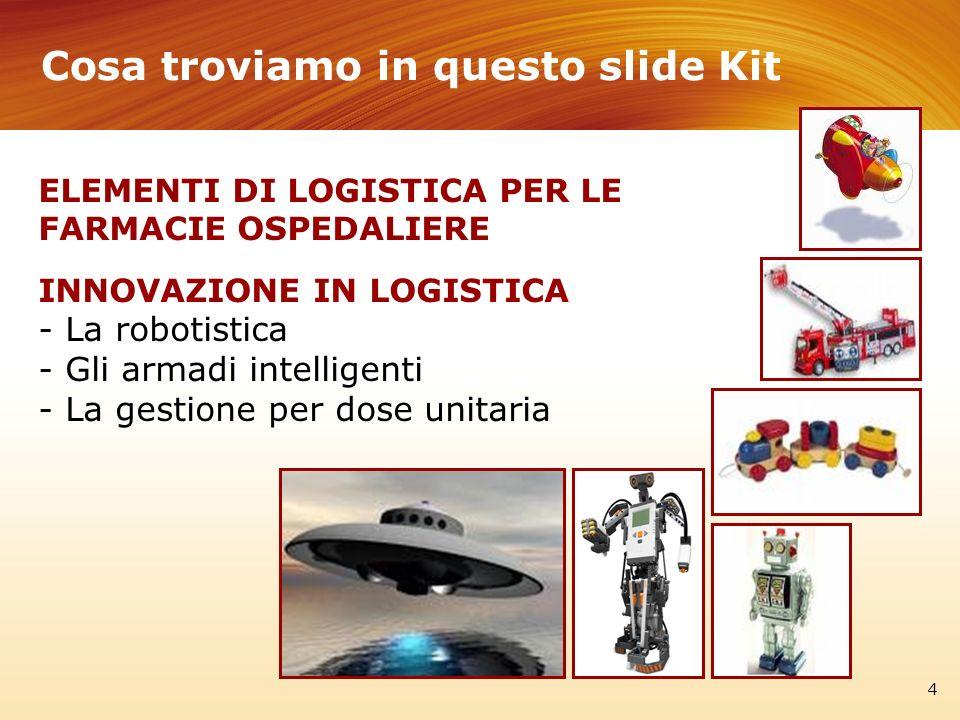 Cosa troviamo in questo slide Kit 4 ELEMENTI DI LOGISTICA PER LE FARMACIE OSPEDALIERE INNOVAZIONE IN LOGISTICA - La robotistica - Gli armadi intellige