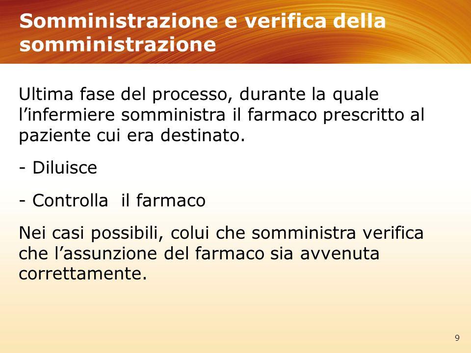 Somministrazione e verifica della somministrazione 9 Ultima fase del processo, durante la quale linfermiere somministra il farmaco prescritto al pazie