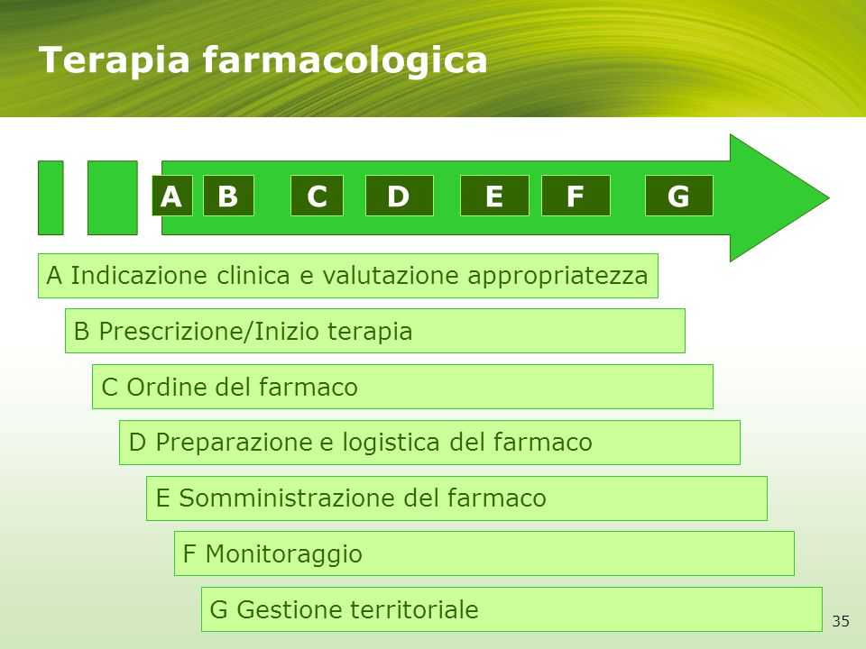 A Indicazione clinica e valutazione appropriatezza B Prescrizione/Inizio terapia C Ordine del farmaco D Preparazione e logistica del farmaco E Sommini