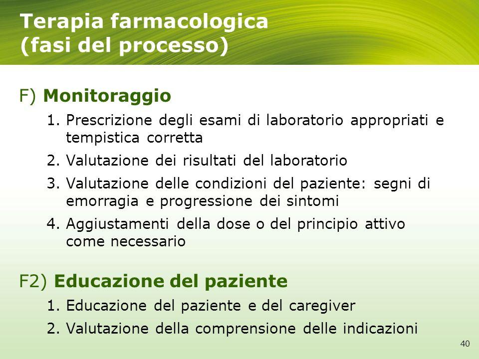 F) Monitoraggio 1.Prescrizione degli esami di laboratorio appropriati e tempistica corretta 2.Valutazione dei risultati del laboratorio 3.Valutazione