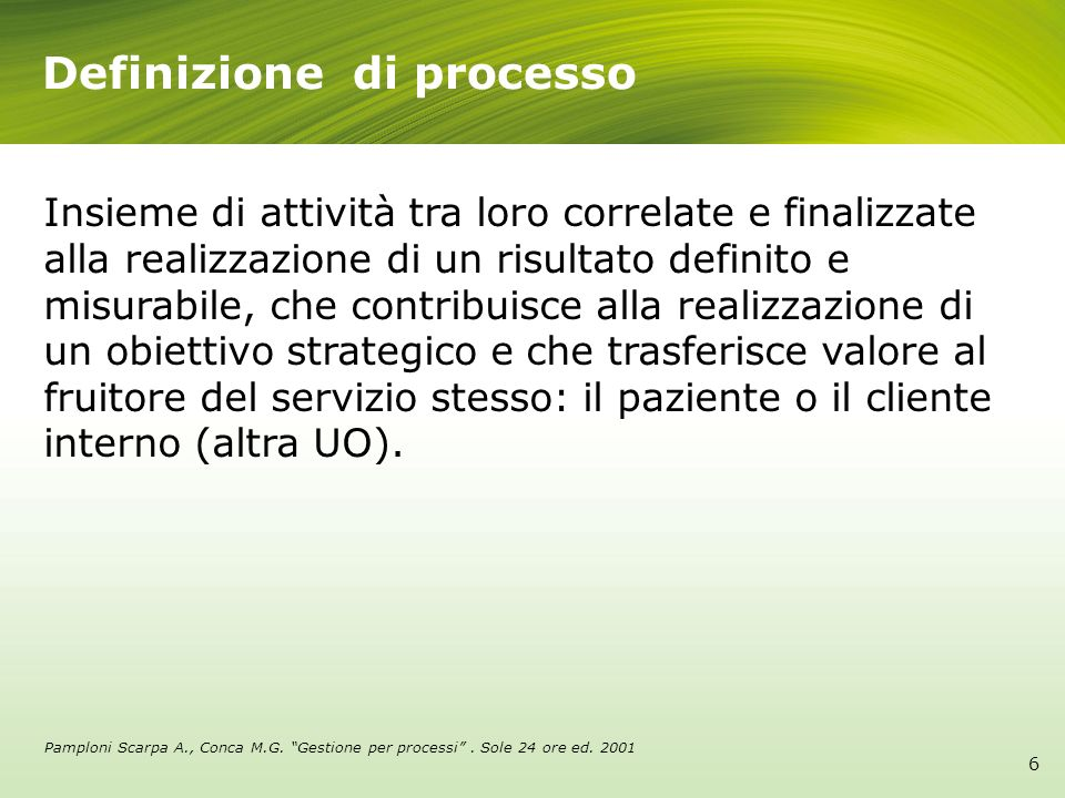 6 Definizione di processo Insieme di attività tra loro correlate e finalizzate alla realizzazione di un risultato definito e misurabile, che contribui
