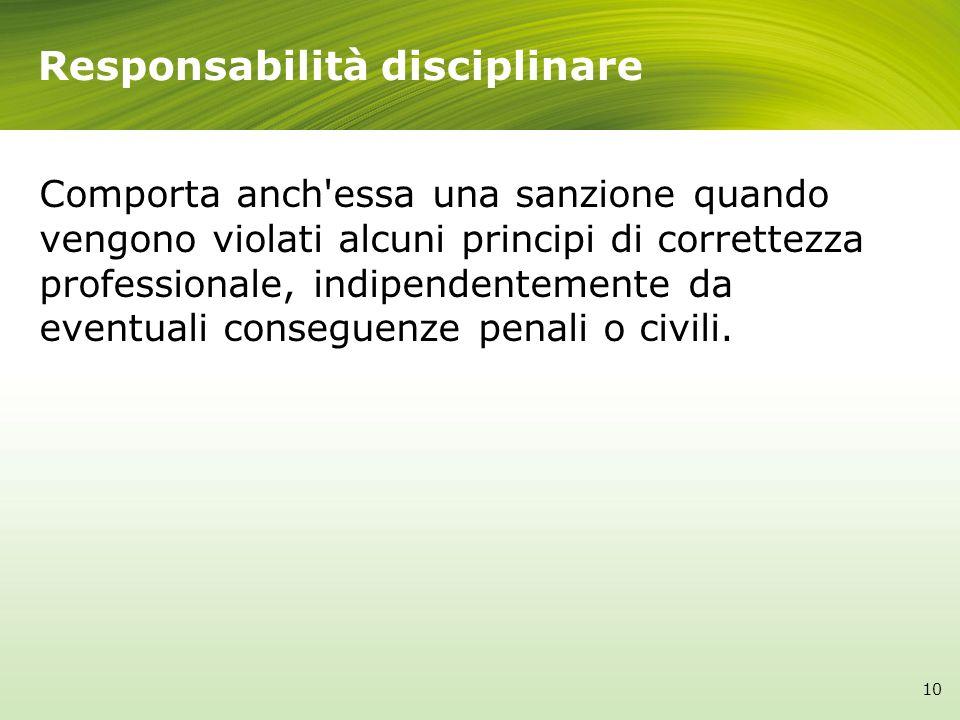 Responsabilità disciplinare Comporta anch'essa una sanzione quando vengono violati alcuni principi di correttezza professionale, indipendentemente da