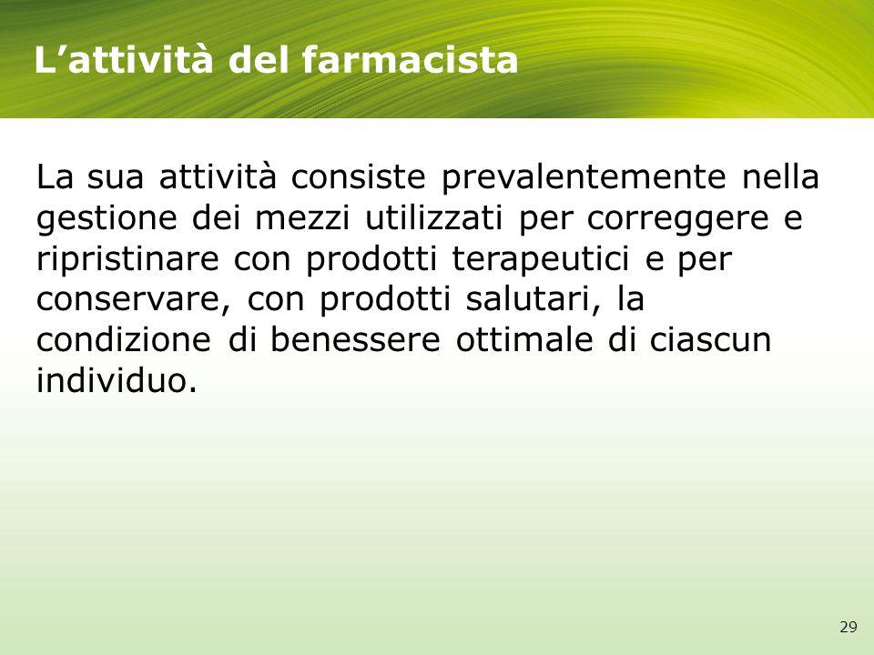 Lattività del farmacista La sua attività consiste prevalentemente nella gestione dei mezzi utilizzati per correggere e ripristinare con prodotti terap