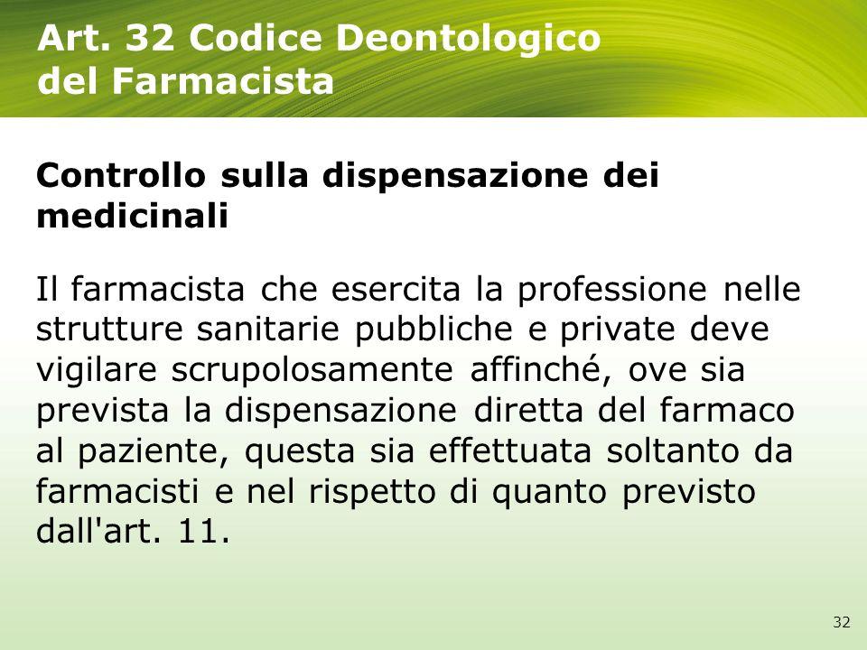 Art. 32 Codice Deontologico del Farmacista 32 Controllo sulla dispensazione dei medicinali Il farmacista che esercita la professione nelle strutture s