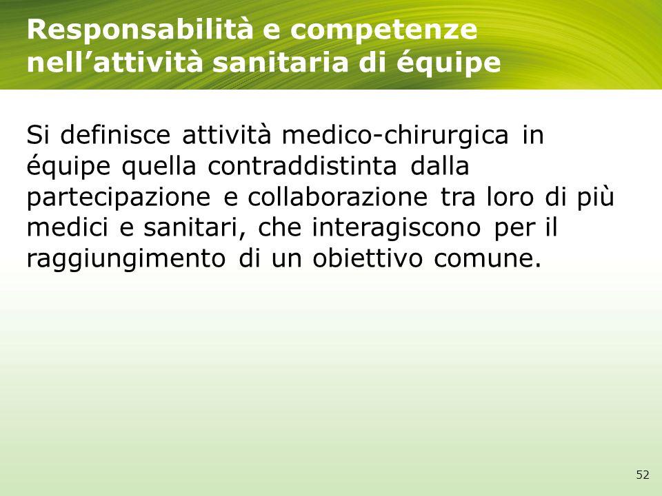 Responsabilità e competenze nellattività sanitaria di équipe Si definisce attività medico-chirurgica in équipe quella contraddistinta dalla partecipaz