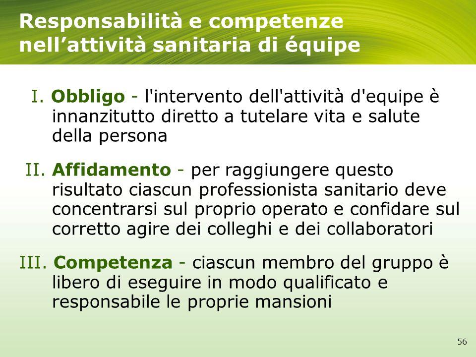 I. Obbligo - l'intervento dell'attività d'equipe è innanzitutto diretto a tutelare vita e salute della persona II. Affidamento - per raggiungere quest