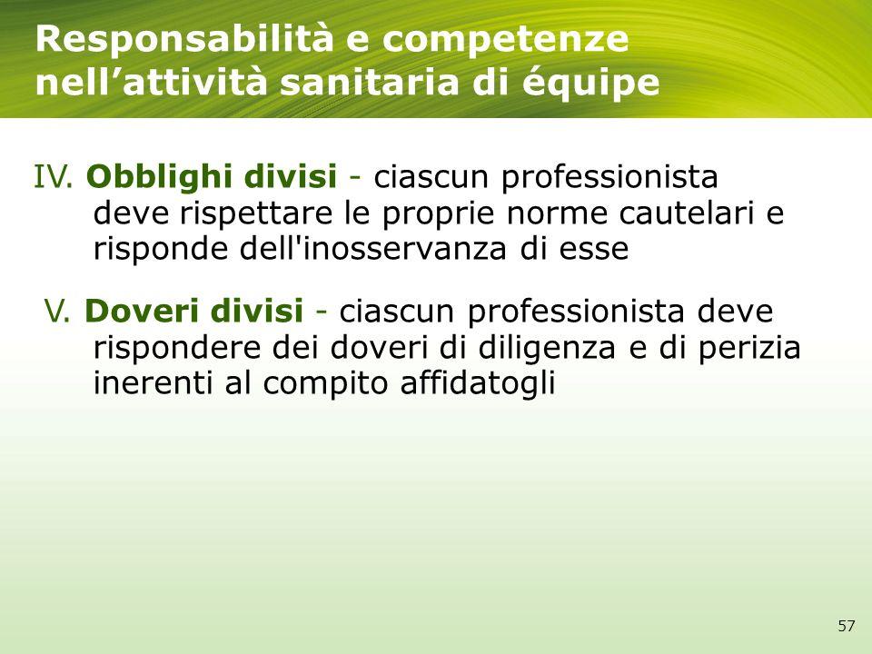 IV. Obblighi divisi - ciascun professionista deve rispettare le proprie norme cautelari e risponde dell'inosservanza di esse V. Doveri divisi - ciascu