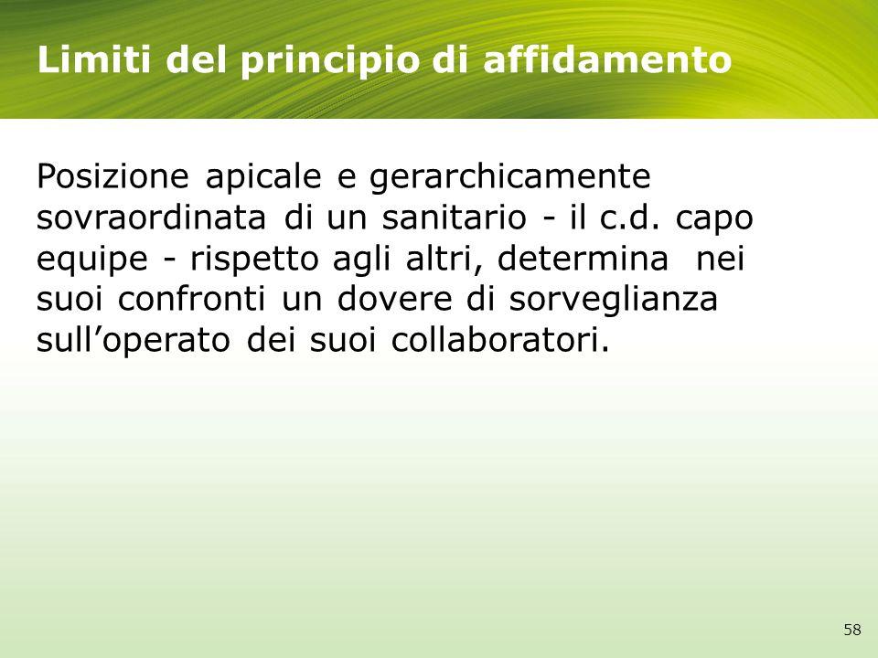 Limiti del principio di affidamento Posizione apicale e gerarchicamente sovraordinata di un sanitario - il c.d. capo equipe - rispetto agli altri, det