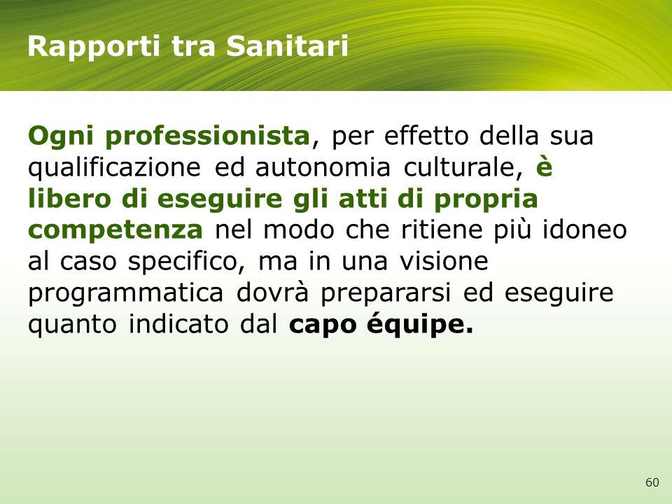 Rapporti tra Sanitari Ogni professionista, per effetto della sua qualificazione ed autonomia culturale, è libero di eseguire gli atti di propria compe