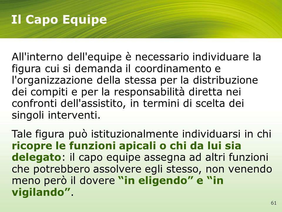 Il Capo Equipe All'interno dell'equipe è necessario individuare la figura cui si demanda il coordinamento e l'organizzazione della stessa per la distr