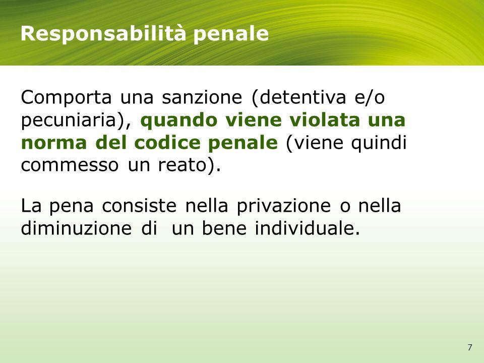 Comporta una sanzione (detentiva e/o pecuniaria), quando viene violata una norma del codice penale (viene quindi commesso un reato). La pena consiste