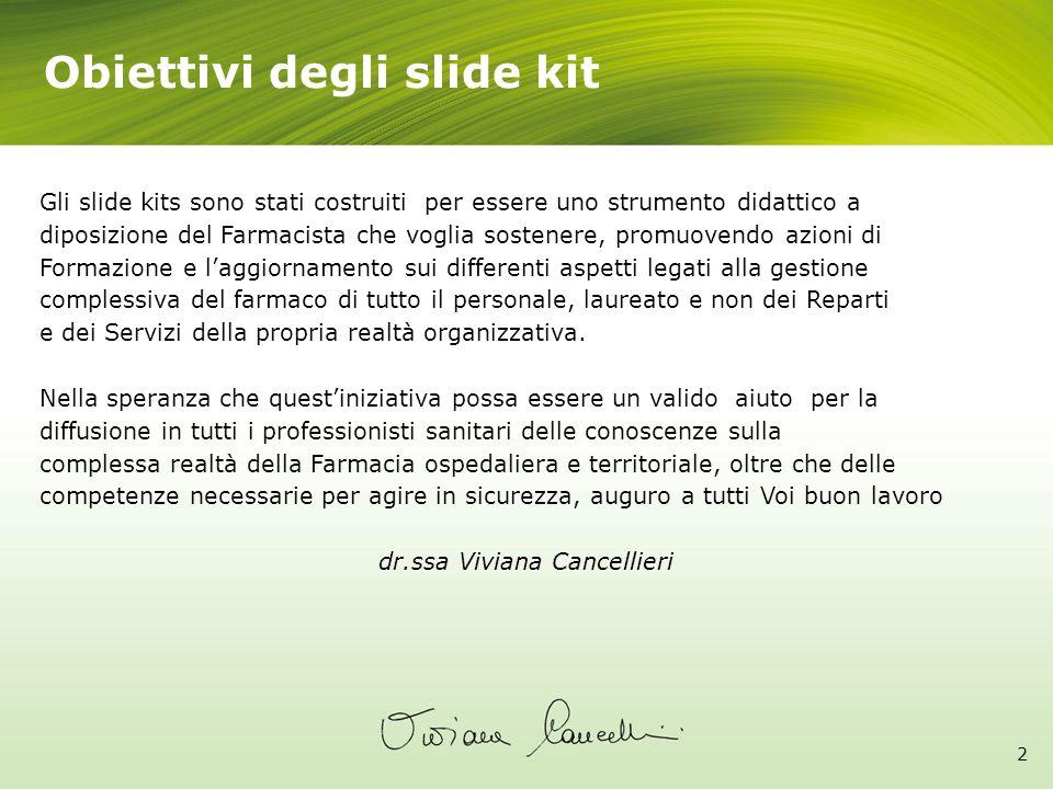 Obiettivi degli slide kit 2 Gli slide kits sono stati costruiti per essere uno strumento didattico a diposizione del Farmacista che voglia sostenere,