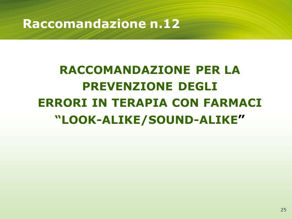 Raccomandazione n.12 RACCOMANDAZIONE PER LA PREVENZIONE DEGLI ERRORI IN TERAPIA CON FARMACI LOOK-ALIKE/SOUND-ALIKE 25