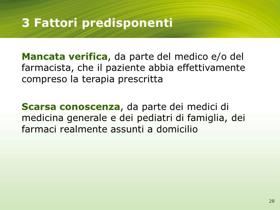 3 Fattori predisponenti Mancata verifica, da parte del medico e/o del farmacista, che il paziente abbia effettivamente compreso la terapia prescritta