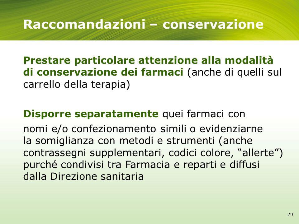Raccomandazioni – conservazione Prestare particolare attenzione alla modalità di conservazione dei farmaci (anche di quelli sul carrello della terapia