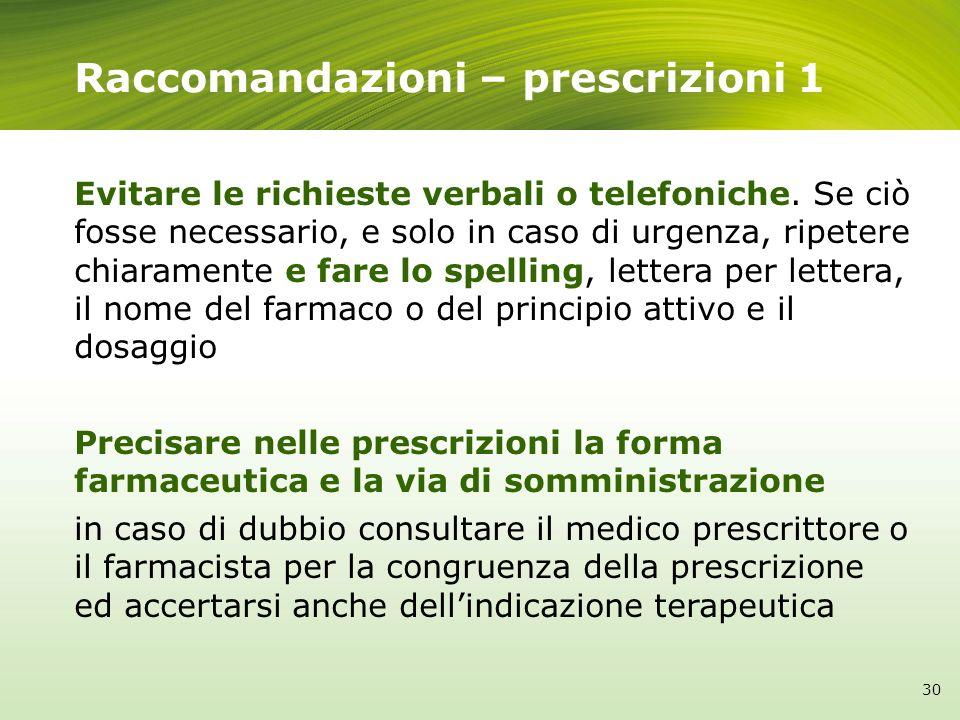 Raccomandazioni – prescrizioni 1 Evitare le richieste verbali o telefoniche. Se ciò fosse necessario, e solo in caso di urgenza, ripetere chiaramente