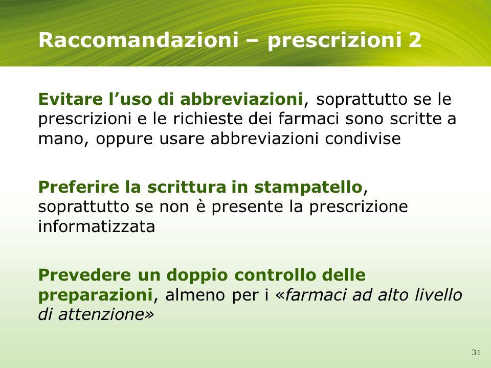 Raccomandazioni – prescrizioni 2 Evitare luso di abbreviazioni, soprattutto se le prescrizioni e le richieste dei farmaci sono scritte a mano, oppure
