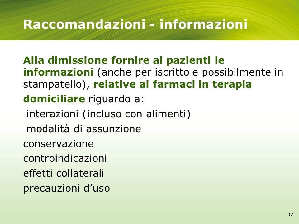 Raccomandazioni - informazioni Alla dimissione fornire ai pazienti le informazioni (anche per iscritto e possibilmente in stampatello), relative ai fa