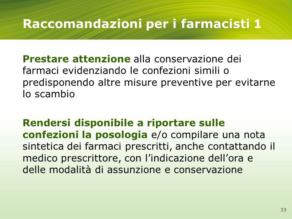 Raccomandazioni per i farmacisti 1 Prestare attenzione alla conservazione dei farmaci evidenziando le confezioni simili o predisponendo altre misure p