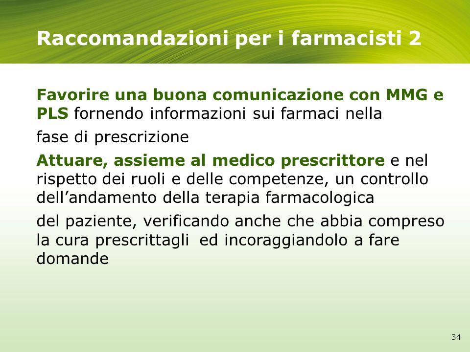 Raccomandazioni per i farmacisti 2 Favorire una buona comunicazione con MMG e PLS fornendo informazioni sui farmaci nella fase di prescrizione Attuare