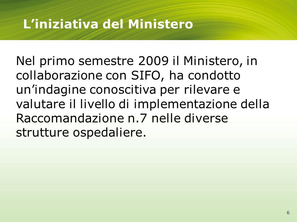 Liniziativa del Ministero Nel primo semestre 2009 il Ministero, in collaborazione con SIFO, ha condotto unindagine conoscitiva per rilevare e valutare