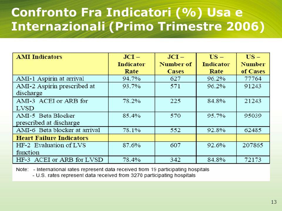 Confronto Fra Indicatori (%) Usa e Internazionali (Primo Trimestre 2006) 13